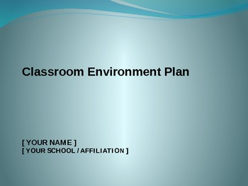 Classroom Environment Plan
