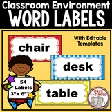 Classroom Environment Word Labels