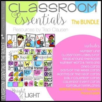 Alphabet, Phonics and Classroom Decor BUNDLE - Bright and Light
