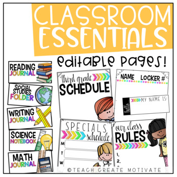 Classroom Essentials Pack {editable}