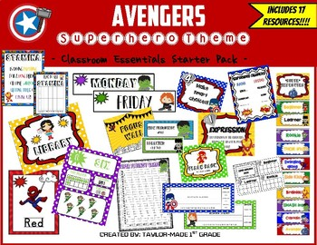 Superhero Theme Classroom Decor & Resources BUNDLE (Avengers)