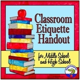 Classroom Etiquette Handout for Middle School and High School