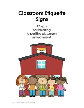 Classroom Etiquette Rule Signs