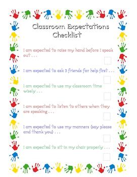 Classroom Expectation Checklist