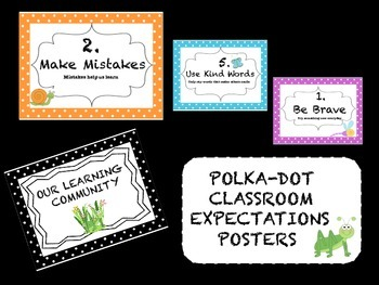Classroom Expectations Polka -Dot Posters
