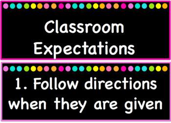 Classroom Expectation/Rule Cards EDITABLE