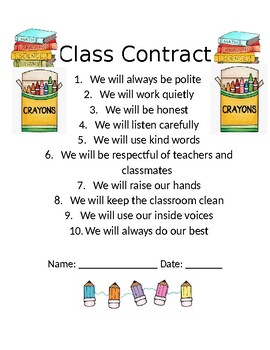 Classroom Expectations Contract