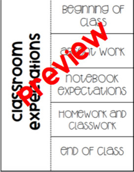 Classroom Expectations Foldable