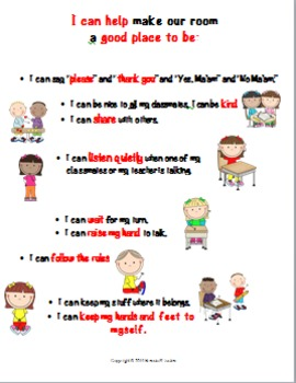 Classroom Expectations-I Can Help Make Our Classroom. . .Great