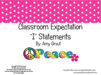 """Classroom Expectations """"I"""" Statements: Groovy Theme"""