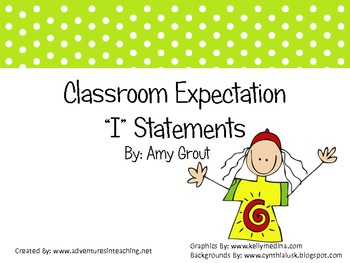 """Classroom Expectations """"I"""" Statements: Stick Kids and Polka Dots"""