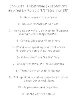 "Classroom Expectations Inspired by Ron Clark's ""Essential 55"" Low Ink Version"