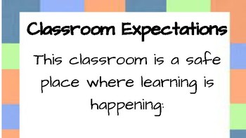 Classroom Expectations- Poster