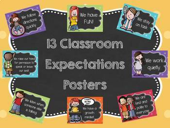 Classroom Expectations Posters (Colorful and Chalkboard Themed)