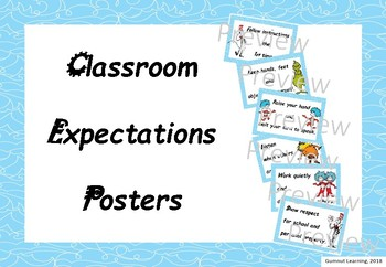 Classroom Expectations Posters - Dr Suess theme
