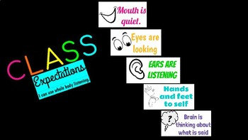 Classroom Expectations Posters- NEON (Whole Body Listening)