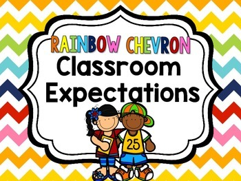 Classroom Expectations {Rainbow Chevron}