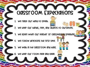 Classroom Expectations Rainbow Chevron White Theme