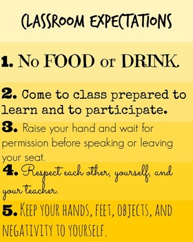 Classroom Expectations (Rules) Ombre Printable Poster