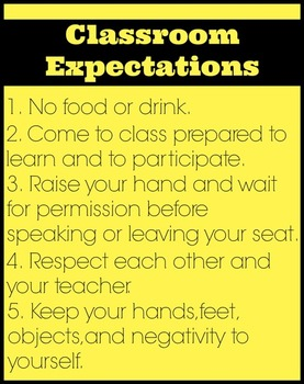 Classroom Expectations (Rules) Posters