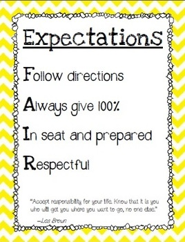 Classroom Expectations- Rules for the Classroom