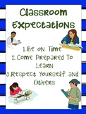 Classroom Expectations Upper Grades Blue Background