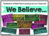 Classroom Expectations and Belief Subway Art: We Believe (Neon)