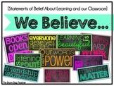 Classroom Expectations and Belief Subway Art: We Believe (Neon)