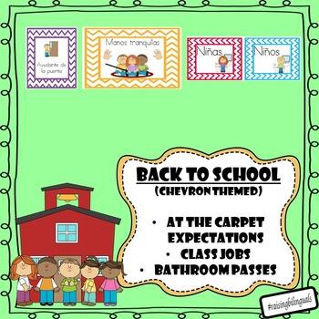 Classroom Expectations and Jobs (Spanish) Chevron Themed!