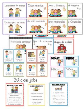 Classroom Expectations and Jobs (Spanish) Polka dot Themed!