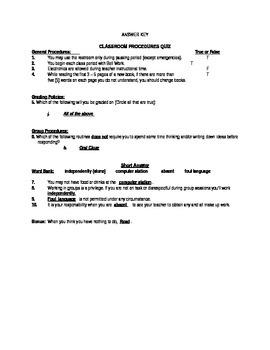 Classroom Expectations and Procedures Quiz