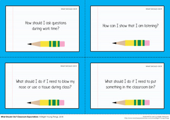 Classroom Expectations and Procedures Task Cards - Back to School