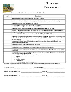Classroom Expectations/behavior contract