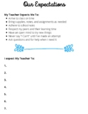Classroom Expectations for Student and Teacher