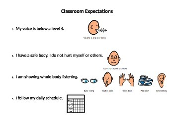 Classroom Expectations with Visuals
