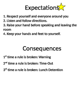 Classroom Expections and Consequences