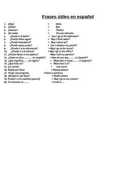 Classroom Expressions- Expresiones de la Clase