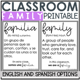 Classroom Family Poster Freebie English & Spanish