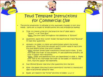 Classroom Feud Powerpoint Template: Commercial Use