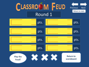 feud template. family feud style game. (up to 4 teams), Powerpoint templates