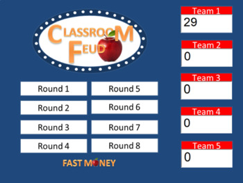 Classroom Feud template. Family Feud style game.  (up to 4 teams)