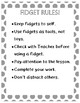 Classroom Fidget Contract and Rules