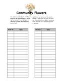 Classroom Flowers Parent Volunteer Sheet