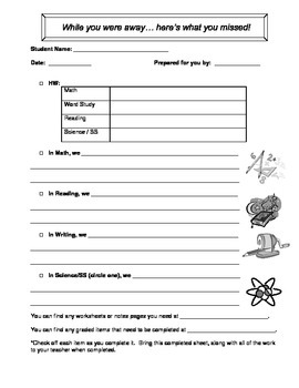 Classroom Form:  While You Were Away Sheet for Student Absences