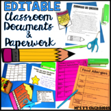 Classroom Documents & Paperwork for the Year: EDITABLE and