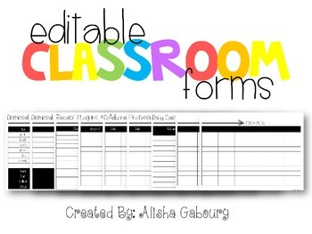 Classroom Forms Packet [Editable]