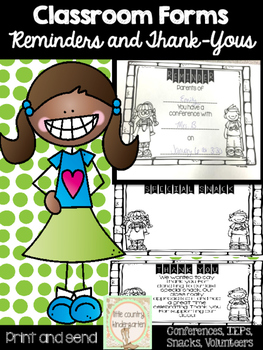 Classroom Forms: Reminders and Thank You Notes