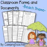 Classroom Forms and Documents Beach Theme