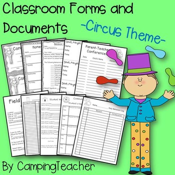 Classroom Forms and Documents Circus Theme