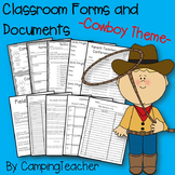 Classroom Forms and Documents Cowboy Theme